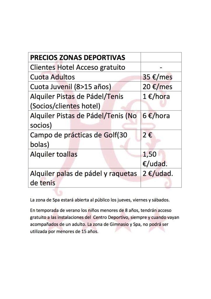 PRECIOS ZONAS DEPORTIVAS